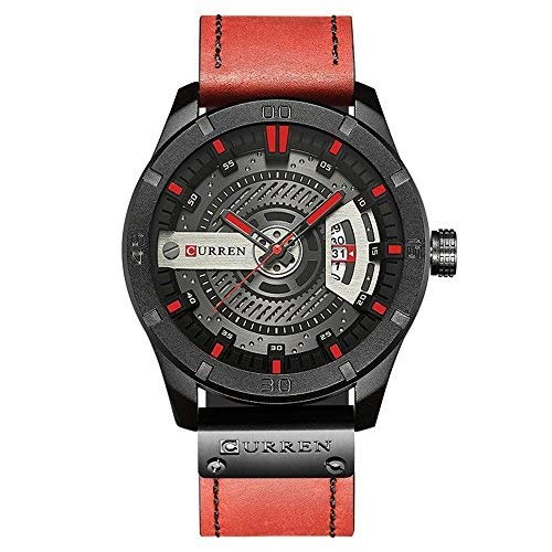 Montre Homme Curren Quartz : Montre Waterproof à Quartz analogique, Multifonctionnel Montre-Bracelet (Black-Blue) (Red)