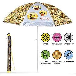 PERLETTI 75056 - Sombrilla Emoji Antiviento Amarillo con Emoticones, Diámetro 140 cm, Protección contra los Rayos UV SPF 50+