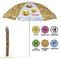 PERLETTI 75056 - Sombrilla Emoji Antiviento Amarillo con Emoticones, Diámetro 140 cm, Protección contra