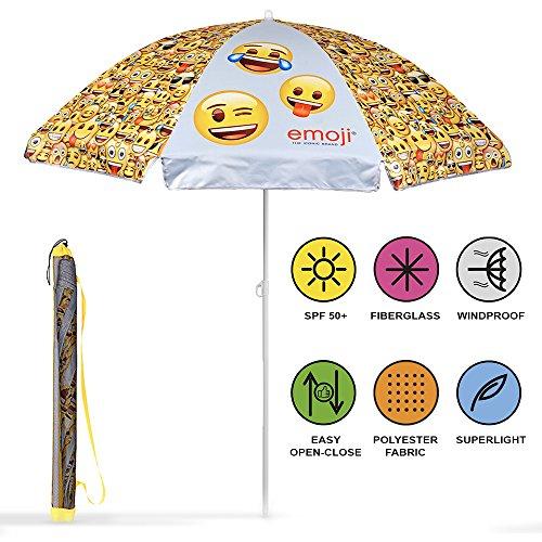 Perletti 75056 - ombrellone tondo bambino emoji, parasole resistente al vento, bianco e giallo, diametro 140 cm, protezione contro i raggi uv spf 50+