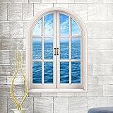 VOVO Wohnkultur❤️❤️Vovotrade Wandaufkleber 3D Fenster Meerblick Wandaufkleber Abnehmbare Art Aufkleber Wandbild Tapete Chic Aufkleber (Blau, Size 80x58cm)