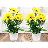 Litleo Great for Home Office, Gift, Or Decoration,Bring Brightness with These Yellow Sunflower Artificial Flower with Pot (2)
