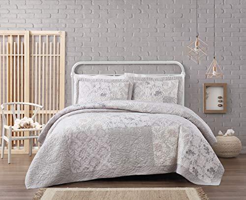 Cottage Classics Brigette Floral Cotton Quilt Set Twin XL Grey - Quilt Twin Cottage
