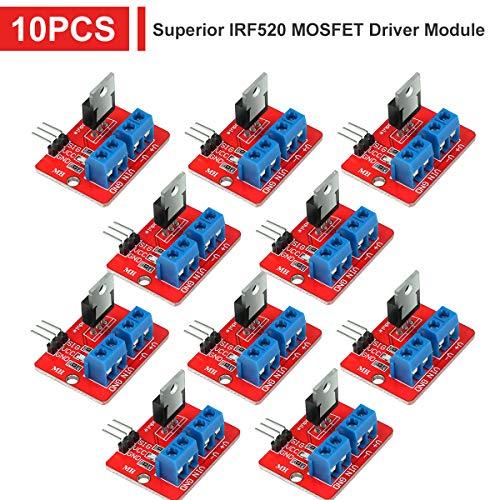 Innovateking-EU 10 stücke IRF520 MOSFET Überlegene Treibermodul PWM Ausgang 0-24 V 5A für Arduino MCU ARM Raspberry Pi (Mosfet-modul)