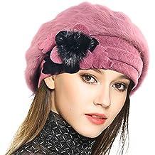 VECRY Mujeres Lana Boinas Angola Gorro Casquete Invierno Sombrero fd8e5000380