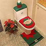 XINGUANG Asiento de Inodoro de Navidad Decoraciones de Navidad de Tres Piezas Suministros de Navidad Set de Inodoro de Santa Claus (Color : A)