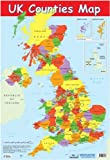 UK Counties Map Educational Poster 40x60cm