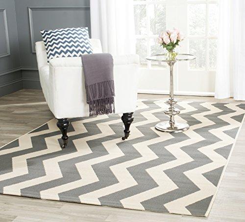 Safavieh In- und Outdoorteppich, CY6245, Gewebter Polypropylen, Grau / Beige, 120 x 180 cm - Safavieh Transitional Teppiche
