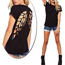 camisa negra mujer con dibujo de alas de Ángel con espalda al aire - M