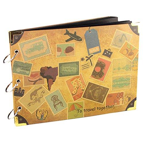 Retro Reise Scrapbook Album Vintage DIY Briefmarken Muster Cover Urlaub Foto Album 3Ring Bindung self-paste Handgefertigtes Fotoalbum Jahrestag Scrapbook Hochzeit Fotoalbum 27,9x 19,6cm (Hochzeit Ring Aufnahmen)