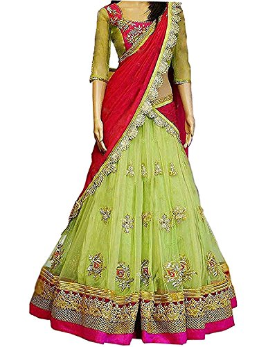 Aracruz Women's Party Wear Navratri New Collection Special Sale Offer Bollywood Light Green Georgette Heavy Bridal Wedding Lehenga | Chaniya Ghagra Choli