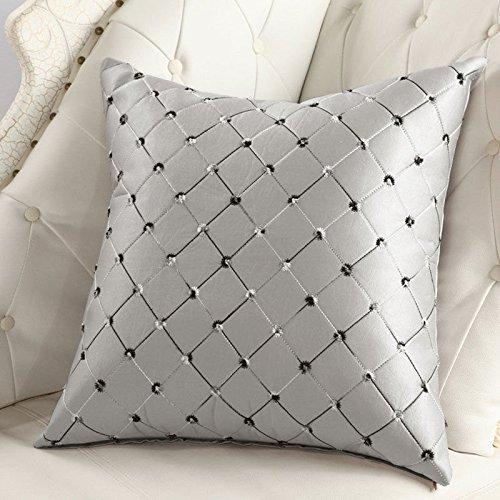 Lanlan Home Sofa Bett Decor Plaids Bunte Kissenbezug, Baumwollleinen, quadratisch silber grau 43x 43cm (Seide Print Peacock)