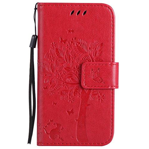 Nancen Tasche Hülle für Nokia Lumia 630 / 635 (4,5 Zoll) Flip Schutzhülle Zubehör Lederhülle mit Silikon Back Cover PU Leder Handytasche im Bookstyle Stand Funktion Kartenfächer Magnet Etui Schale