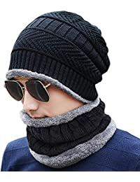 Gajraj 2-Pieces Winter Beanie Hat Neck Scarf Set Warm Knitted Fur Lined For Men & Women