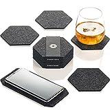 Premium Glasuntersetzer | Filzuntersetzer 9er Set - 8 Untersetzer für Gläser + 1 Tischuntersetzer für Smartphone | Aus European Filz für Tisch, Tassen, Glass | Exklusive Box (Hexagon, Dunkelgrau)
