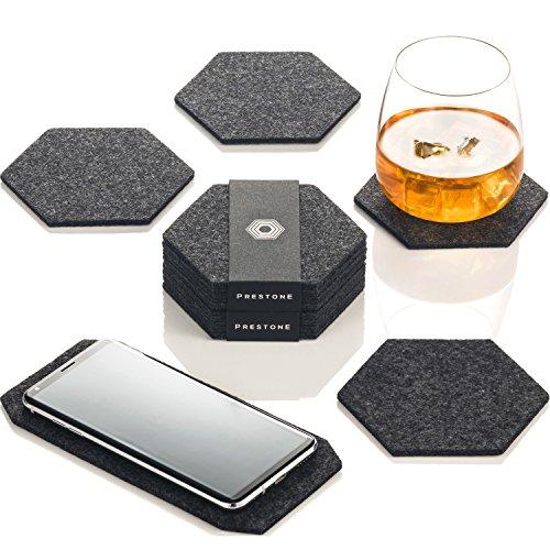 Premium Glasuntersetzer | Filzuntersetzer 9er Set - 8 Untersetzer für Gläser + 1 Tischuntersetzer für Smartphone | Aus European Filz für Tisch, Tassen, Glass | Exklusive Box (Hexagon, Dunkelgrau) -
