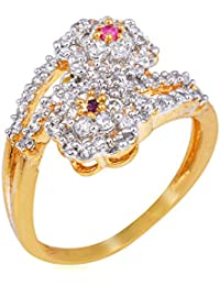 Florishkart Gold Plated Ring Studded With Red Ruby Stone & American Diamonds