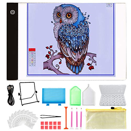 Y-Step A4 LED Light Pad, Light Board Stand Holder and 30 pcs 5D Diamond Painting Tools with 28 Slots Box for Diamond Painting Sketching Drawing (Ton-tool-box)