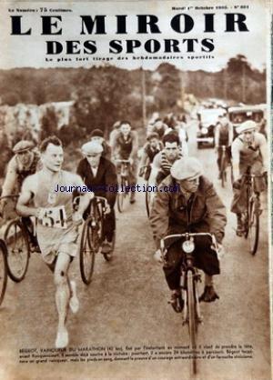 MIROIR DES SPORTS (LE) [No 851] du 01/10/1935 - BEGEOT - VAINQUEUR DU MARATHON - LE CATCH - MARK PASSMANN par Collectif