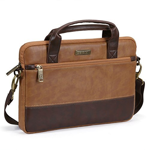 Laptoptasche 11.6 Zoll, Evecase Premium Doppelfarbige Umhängetasche mit Gepolstert Laptopfach, Fronttasche, Zubehörfach für Laptop bis 11,6 Zoll - Fuchs Braun