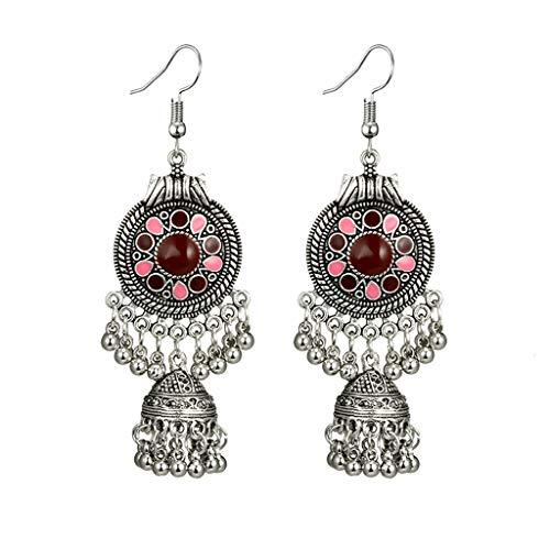 Andouy Frauen Retro Ausschnitt Runde Kugeln Glocken Runde Totem Patterns Schwarz Edelstein Ohrring(rot) Womens Popper