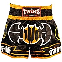 Twins Special Muay Thai negro bate pantalones cortos Fightwear para hombre Tamaño XXXL (4L)