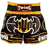 Twins special Muay Thai Pantalones Cortos de Boxeo Negro Bate Fightwear Trunks tamaño XXXL (4L)