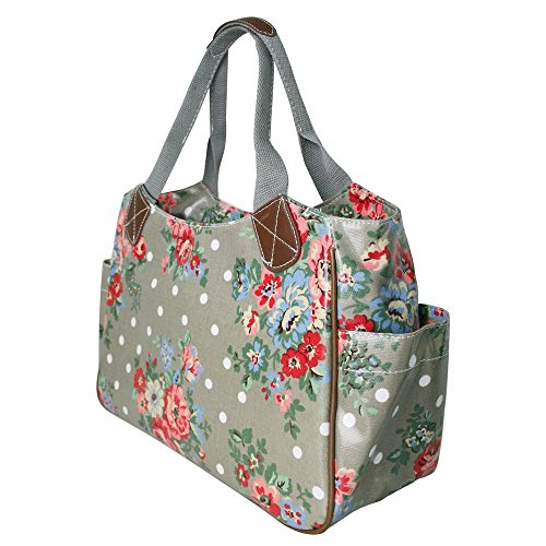 Miss Lulu -Matte Tela cerata Borsa a doona Borsa da viaggio Borsa a tracolla Borsa a pois fiori gatto cane Gufo farfalla (Flower Grey)