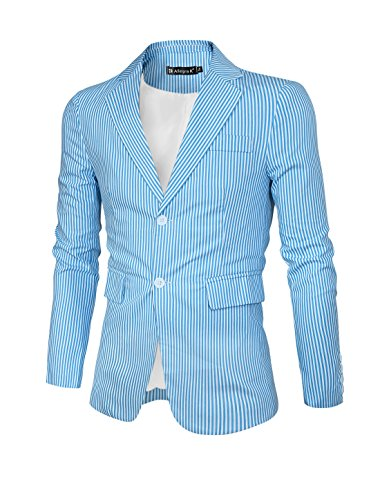 Allegra K Hommes Revers Cranté Slim Fit Rayures Blazer Bleu blanc