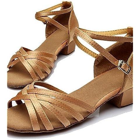 ELA- Scarpe da ballo - Non personalizzabile - Donna - Latinoamericano - Customized Heel - Satin / Eco-pelle -Nero / Marrone / Argento / Oro / , black-us8 / eu39 / uk6 / cn39 , black-us8 / eu39 / uk6 / cn39