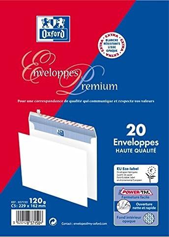 Oxford Premium Pack de 20 enveloppes auto-adhésives 162x229mm sans fenêtre blanc