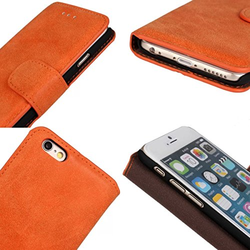 MOONCASE Rétro Coque en Cuir Portefeuille Housse de Protection Étui à rabat Case pour Apple iPhone 6 (4.7 inch) Orange Gris