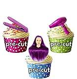 Tête d'entraînement de coiffure Ciseaux Violet rouleaux Mix - 15 x décorations comestibles en gaufrette pour cupcakes