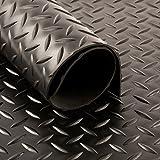 Technikplaza Safety - Gummimatte Riffelblech 1m in Schwarz - Fußmatte - Schmutzfangmatte - Gummimatten - Antirutschmatte - Arbeitsplatzmatten - Gummiboden - Noppenmatte