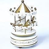 XuanMax Karussell Spieluhr Holz 4 Pferd Spieldose Merry-Go-Round Spielzeug Holzernes mit Schloss im Himmel Melodie Fur Weihnachts Valentinstag Geburtstags Geschenk - WeiB