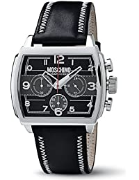 Moschino WATCH HEY MAN?! CHR MAN SS BLACK DIAL BLACK STRA MW0115 - Reloj de caballero de cuarzo, correa de piel color negro (con cronómetro)