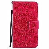 Dfly Galaxy S5 Hülle, Galaxy S5 Neo Hülle, Premium Slim PU Leder Mandala Blume prägung Muster Flip Hülle Bookstyle Stand Slot Schutzhülle Tasche Wallet Case für Samsung Galaxy S5 / S5 Neo, Rot