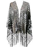 L'VOW Femme Flapper Paillette Châle Étole 1920s Écharpe Foulard avec Frange Annee 20 Gatsby Costume Accessoire