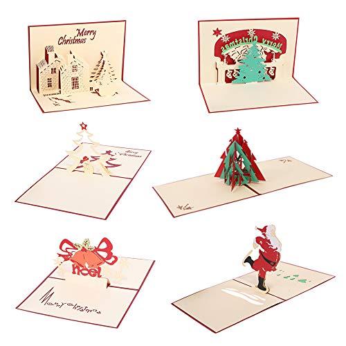 6 Stück 3D Weihnachtskarten Postkarte mit Weihnachtsbaum Schneemann Schloss Weihnachtsmann Glocke Festival Gruß Weihnachtsgeschenk Multipack mit Umschlag (Weihnachtsmann Postkarten)