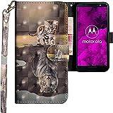 CLM-Tech kompatibel mit Motorola Moto G6 Hülle, Tasche aus Kunstleder, Katze Tiger grau, PU Leder-Tasche für Moto G6 Lederhülle