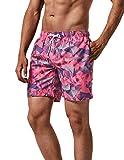 MaaMgic Mens Quick Dry Pink Swim Trunks with Mesh Lining Swimwear Bathing Suits