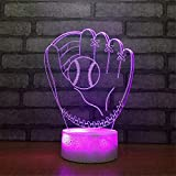 YiLight USB Powered Dekorativ Baseball-Handschuh 3D-Fernbedienung Optische Illusion Nachtlicht Crackle Paint Base 7 Farben Tisch Tischlampe Neben Nachtlicht Tragbares Schlaflicht