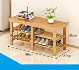 Natürliches Bambusschuhregal mehrstöckiges einfaches festes Holzschuhwohnzimmer für Schuhe Schemelhaushaltschuh-Lagerregal