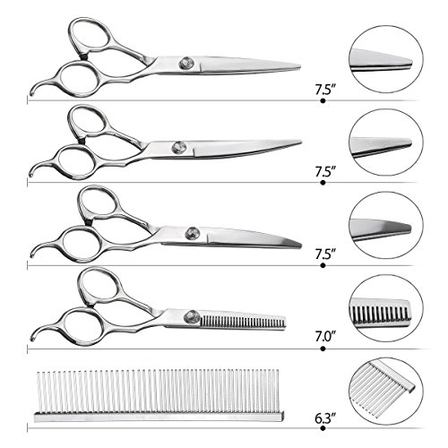Pet-Grooming-Scissors-Kit-Focuspet-5-PCS-Cutting-Thinning-Curved-Scissors-Comb-with-Pouch-Silver