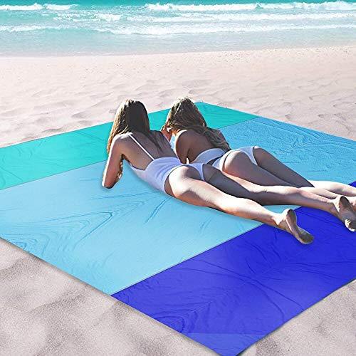 OCOOPA Stranddecke, Sandfreie Picknickdecke Strandtuch, aus Weiches Nylon mit Tasche, Wasserdicht, Blau, 200x200cm/ XL