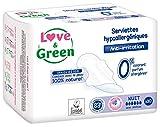 Love & Green Serviettes Hypoallergéniques Nuit 0% 10 Pièces - Lot de 4