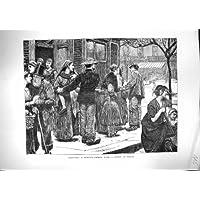 Una Stampa Antica di Combattimento 1871 di Parigi Francia della Via dell'Incrocio di Scena Sotto Tiro - Scena Tiro
