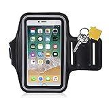 Brassard Sport, Alfort Armband de Téléphone Imperméable Anti-Sueur avec Porte-clés et Sangle Réglable Ecran Transparent pour Jogging / Gym / Course Compatible avec Apple iPhone X / 8 / 8 Plus / 7 / 7 Plus / 6S / 6S Plus / 5 / 5S / SE, Samsung Galaxy S8 / S8 Plus / S7 / S7 Edge / Note 5, Huawei P10 / P10 Plus / P9 / P9 Lite, Sony Xperia, Moto, LG, Wiko et les autres smartphones inférieur à 6.3 Pouces ( Noir )