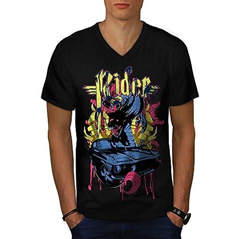 Cavalier Du sang sport Voiture Voiture Men M T-shirt à col en V | Wellcoda