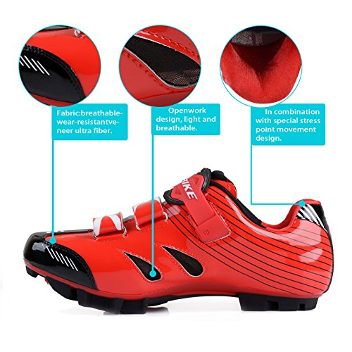 SIDEBIKE VTT Cyclisme Chaussures Hommes et Dames Mountainbike Chaussures Rouge Noir